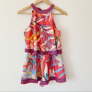 Flying Tomato Bright Print Romper with Halter tie